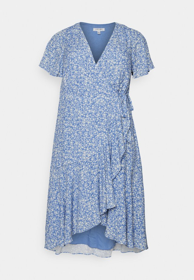 KIRI SPLIT SLEEVE WRAP DRESS - Day dress - blue