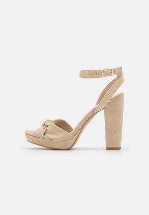 LEATHER - Sandały na obcasie - beige