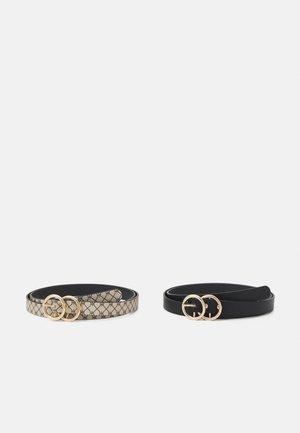 2 PACK - Belt - black/beige
