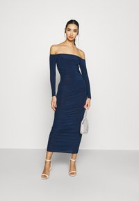 Missguided - BARDOT SLINKY RUCHED MIDAXI DRESS - Jersey dress - navy - 1