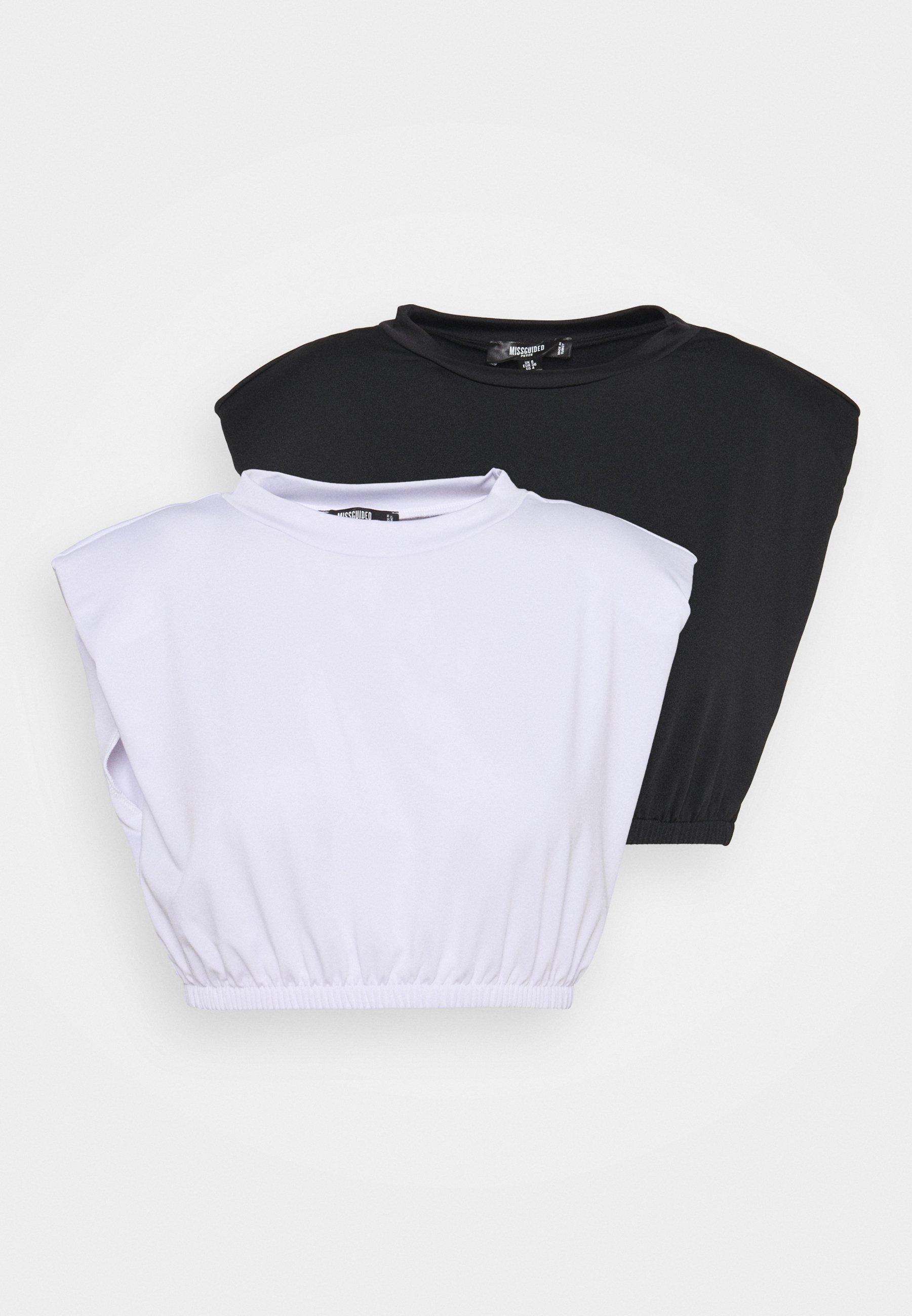 Women RECYCLED SHOULDER PAD CROP TOP 2PACK - Print T-shirt