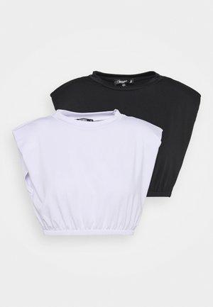 RECYCLED SHOULDER PAD CROP TOP 2PACK - Print T-shirt - black/white