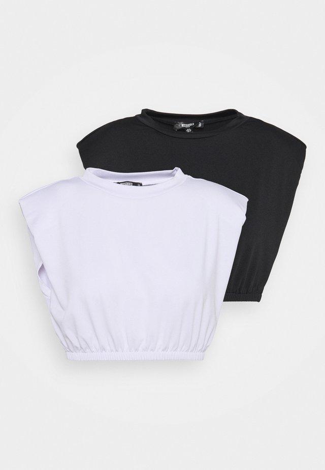 RECYCLED SHOULDER PAD CROP TOP 2PACK - T-shirt print - black/white