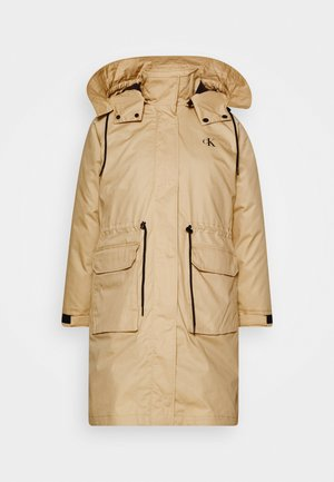 LONG UTILITY HOODED  - Winterjas - irish cream