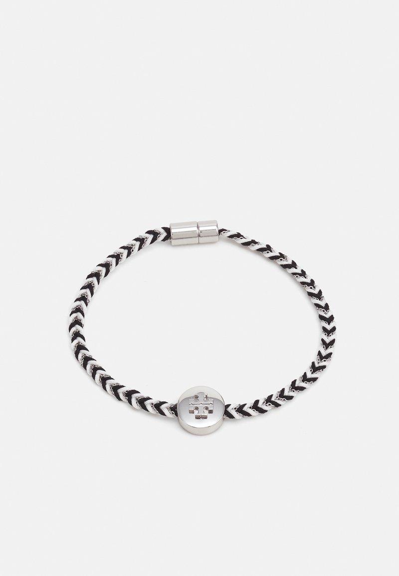 Tory Burch - KIRA BRAIDED BRACELET - Bracelet - silver-coloured/black/new ivory