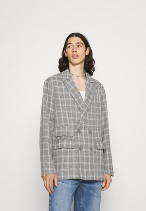 BREEZE DOUBLE BREASTED CHECK SUIT JACKET - Giacca - grey