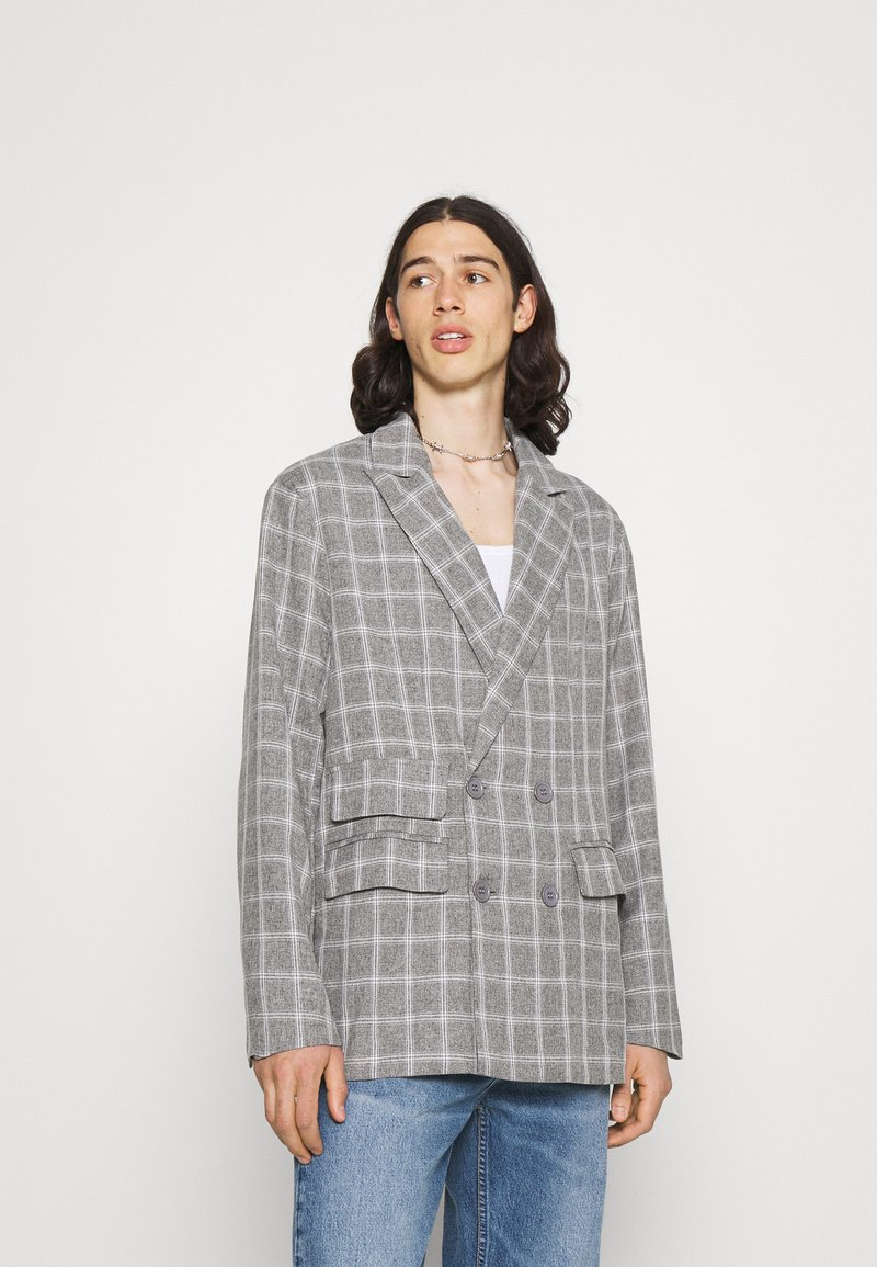 Mennace - BREEZE DOUBLE BREASTED CHECK SUIT JACKET - Blazer jacket - grey