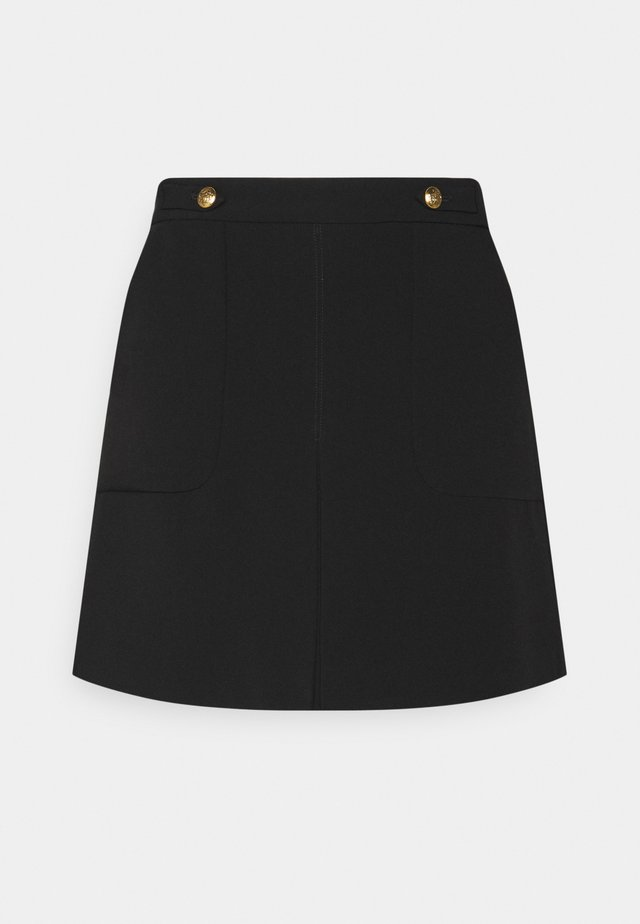 FRONT PLEAT SOLID - A-line skirt - black