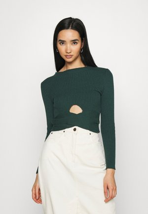 TIANAH CUT OUT RIBBED - Jumper - forest green