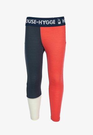 Leggings - mørkeblå, rød og hvit