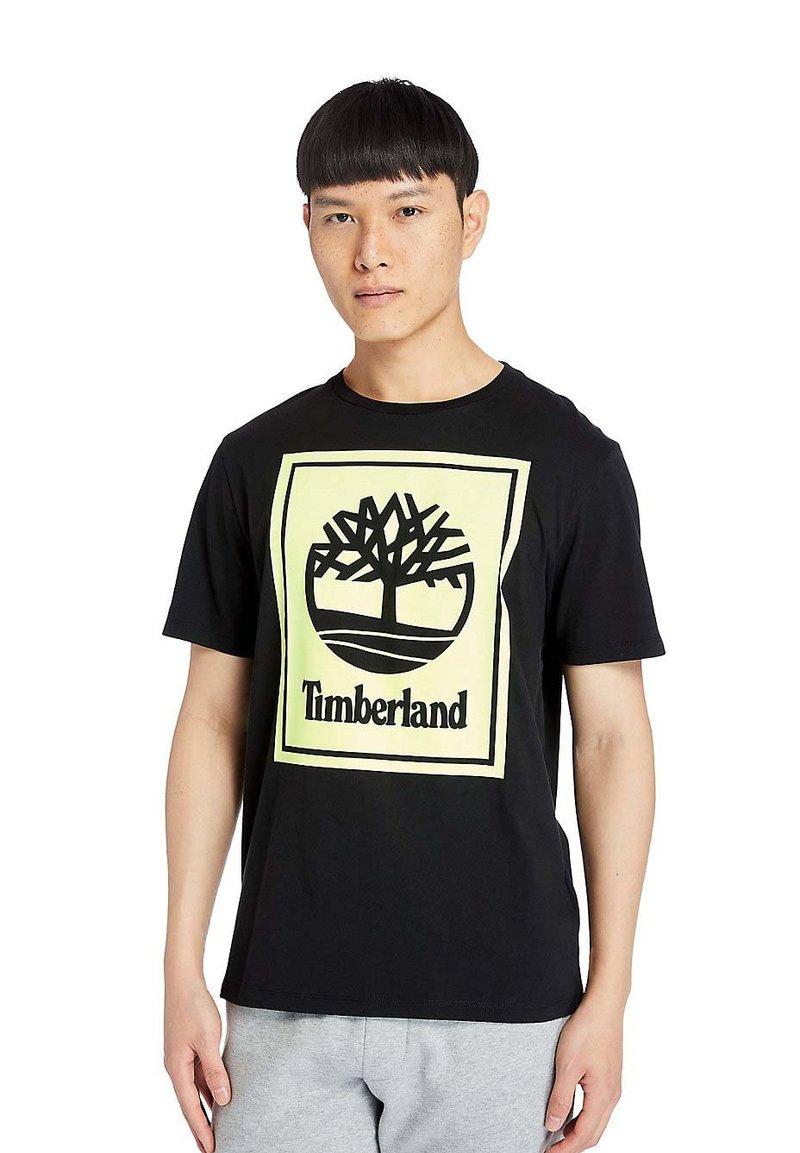 Timberland - STACK - Print T-shirt - black/safety yellow
