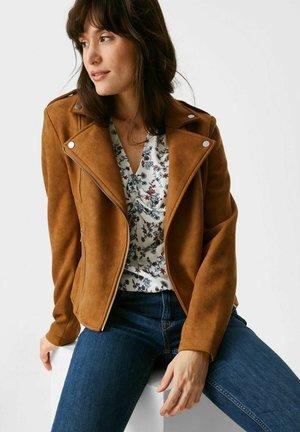Faux leather jacket - havanna