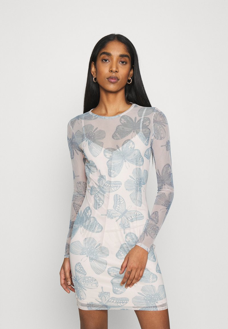 Missguided - BUTTERFLY PRINT CREW NECK MINI DRESS - Denní šaty - blue