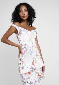 True Violet - BARDOT BODYCON WITH FRILL - Maxi dress - multi-coloured/white - 4