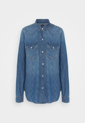 Button-down blouse - medium indigo