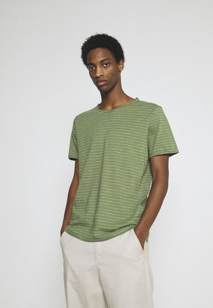 SLHMORGAN STRIPE O NECK TEE - Print T-shirt - vineyard green/egret