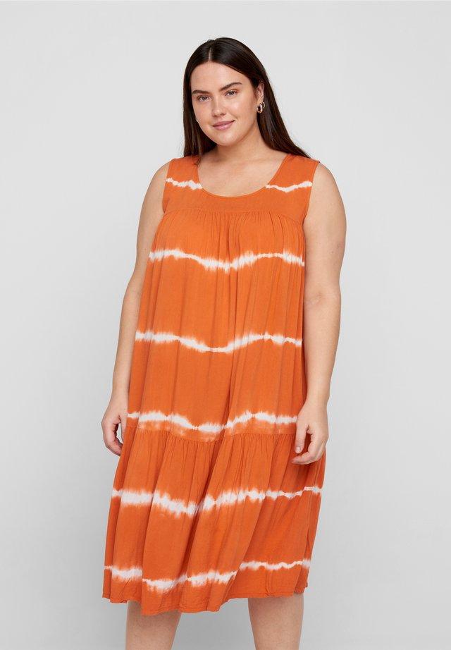 Korte jurk - orange batik