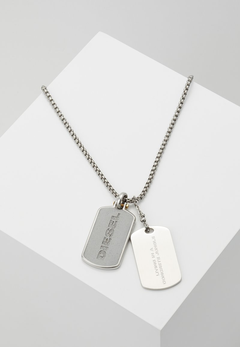 Diesel - DOUBLE DOGTAGS - Necklace - silver-coloured
