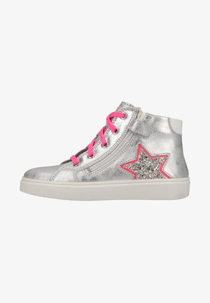High-top trainers - silver/neon fuch/white