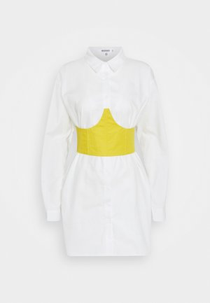 CORSET WAIST DETAIL DRES - Shirt dress - white