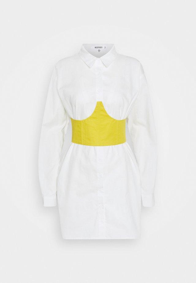 CORSET WAIST DETAIL DRES - Skjortklänning - white