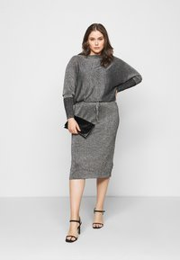 CAPSULE by Simply Be - METALLIC DRESS - Day dress - black/silver-coloured - 1