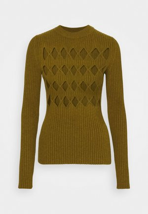 CUT OUT ARGYLE JUMPER - Jumper - ochre