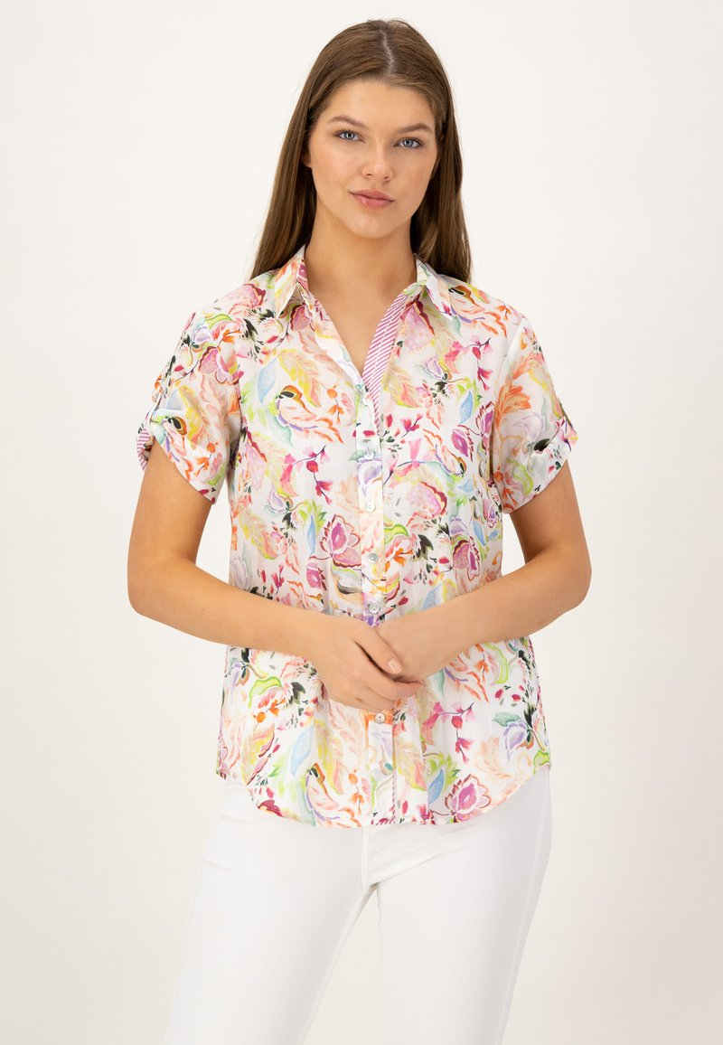 JUST WHITE - Button-down blouse - offwhite druck