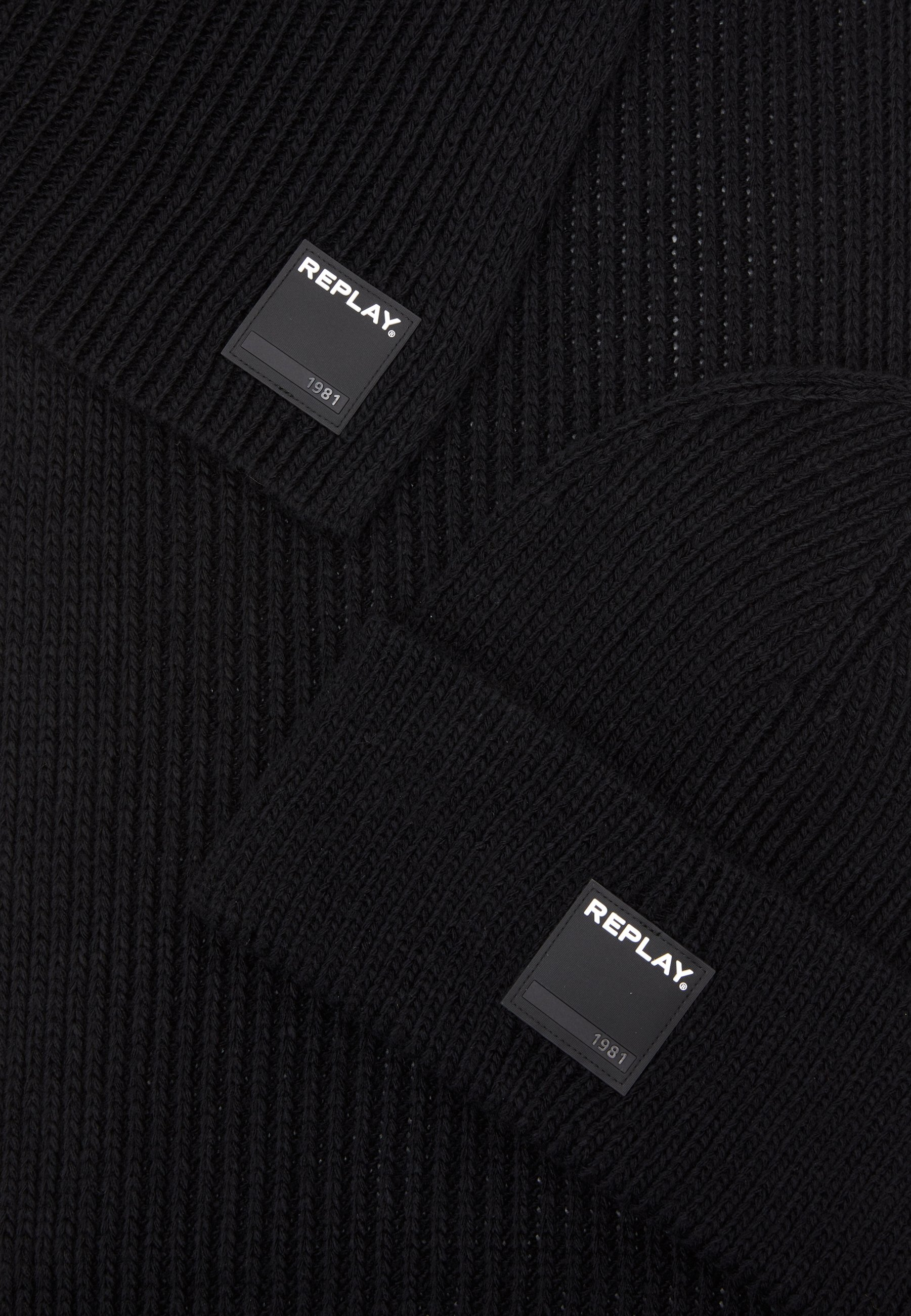 Replay HAT SCARF SET - Schal - black/schwarz - Herrenaccessoires FXrKx