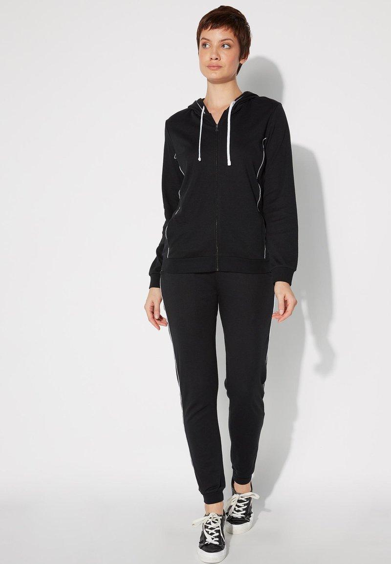Tezenis - Zip-up hoodie - nero/bianco