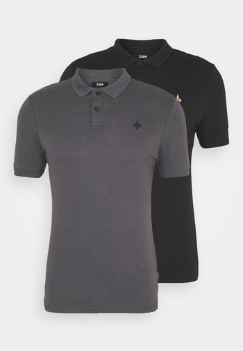 2 PACK - Polo shirt - black/dark grey