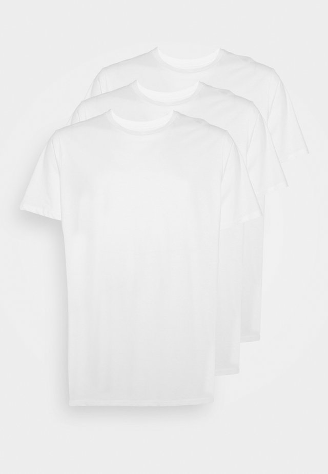 ESSENTIAL LONGLINE CURVED 3 PACK - T-shirts basic - white
