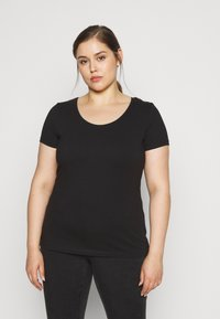 Anna Field Curvy - 3 PACK - T-shirts basic - white/black/dark grey - 1