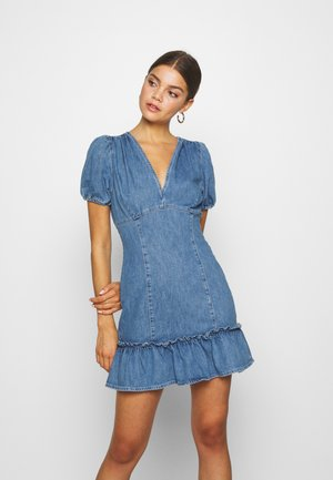 FRILL HEM SERENA DRESS - Denim dress - light-blue denim
