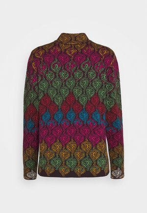JACKET GEOMETRIC PATTERN - Strikjakke /Cardigans - brown/red