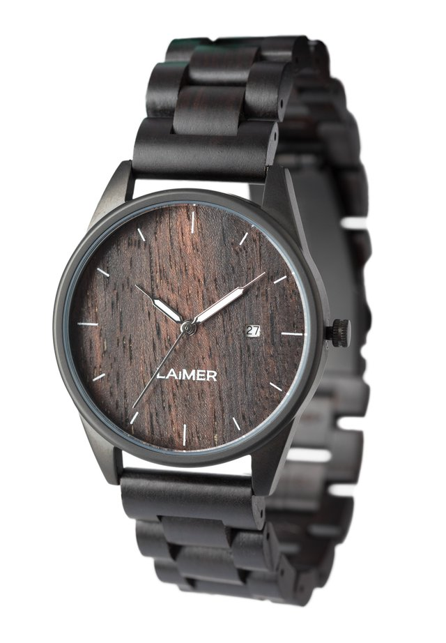 LAIMER QUARZ HOLZUHR - ANALOGE ARMBANDUHR SASCHA - Watch - black
