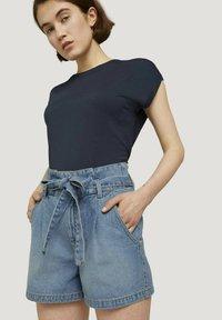 TOM TAILOR DENIM - Denim shorts - used light stone blue denim - 0