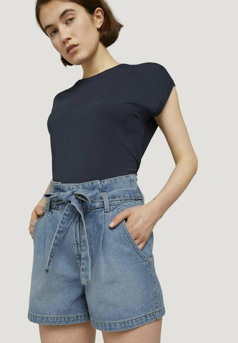 TOM TAILOR DENIM - Denim shorts - used light stone blue denim