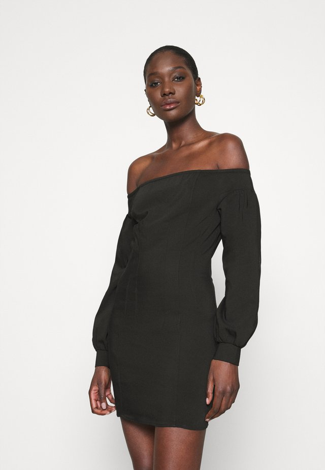OFF THE SHOULDER MINI DRESS - Day dress - black