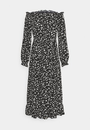 FLORAL BELTED FRILL HEM DRESS - Day dress - black