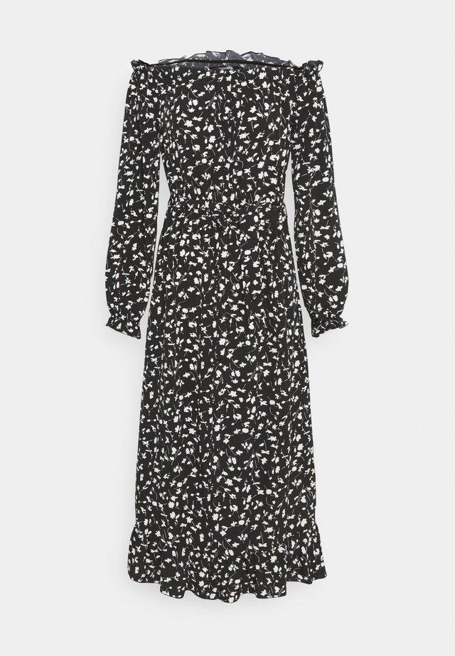 FLORAL BELTED FRILL HEM DRESS - Korte jurk - black