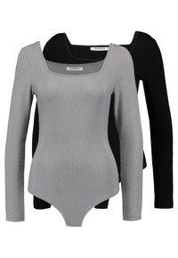 Glamorous - BODYSUIT 2 PACK - Long sleeved top - silver/black - 0