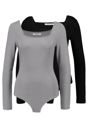 BODYSUIT 2 PACK - Long sleeved top - silver/black