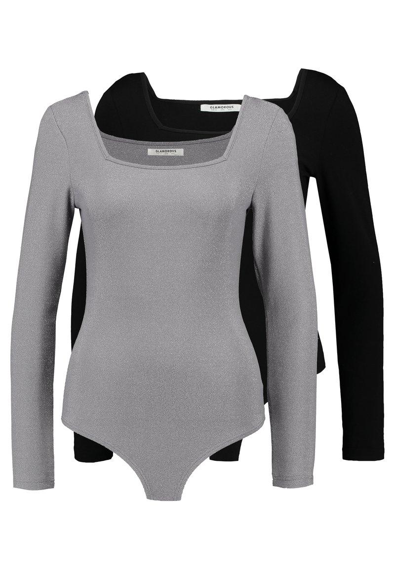 Glamorous - BODYSUIT 2 PACK - Long sleeved top - silver/black