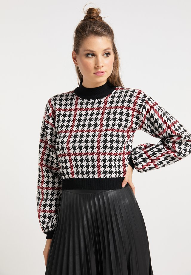 Stickad tröja - schwarz rot weiss
