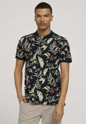 Polo - navy abstract flower print