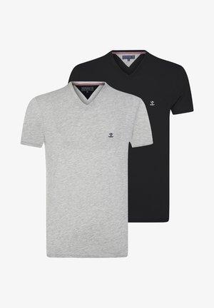2 PACK - T-shirt basic - black/grey melange