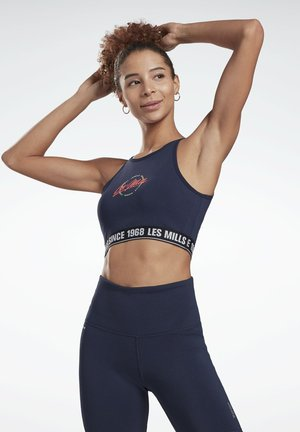 LES MILLS® BEYOND THE SWEAT CROP TOP - Sports bra - blue
