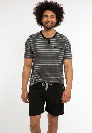 NIGHT & HOME - Pyjama set - grau gestreift / schwarz