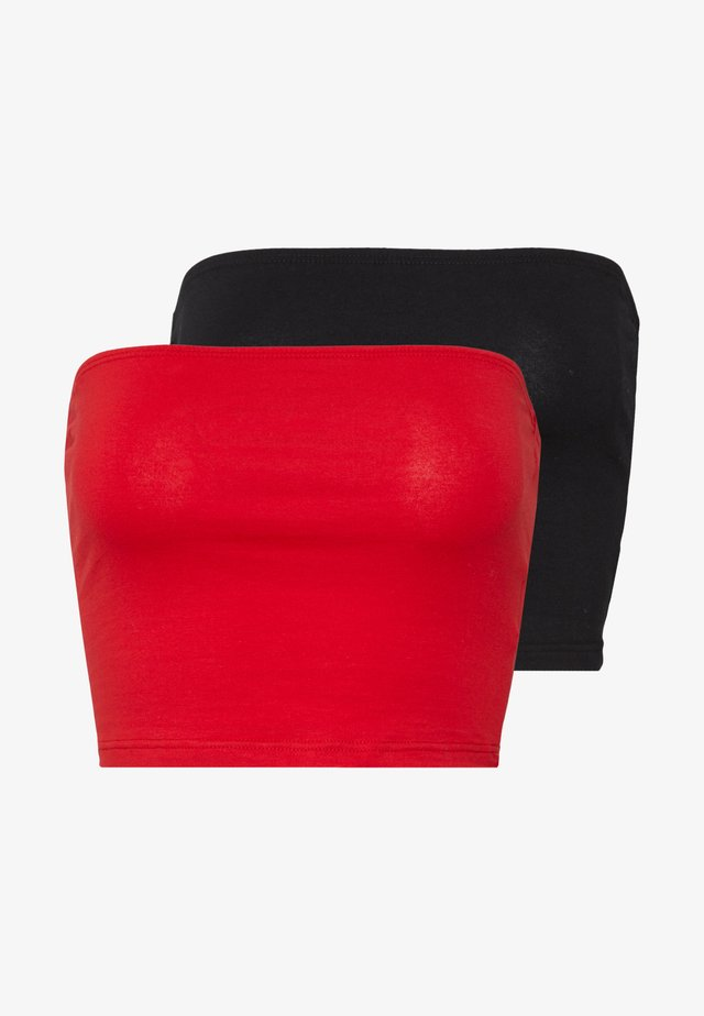 BANDEAU CROP TUBE 2 PACK - Top - black/red
